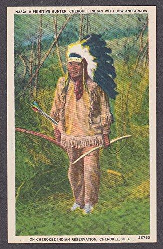 Primitive Hunter Cherokee Indian with Bow & Arrow NC postcard 1920s