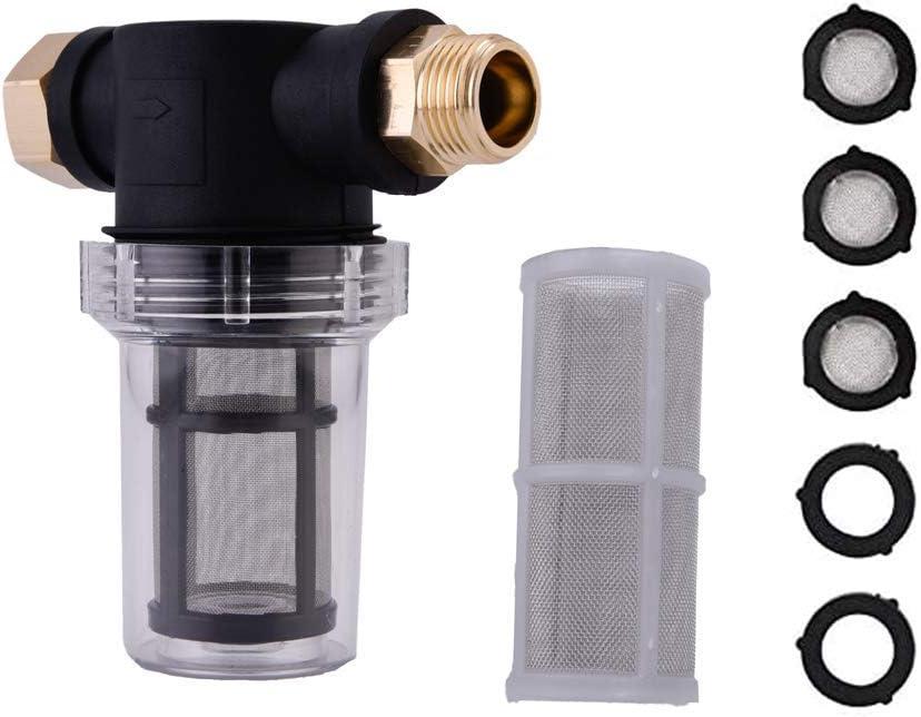 FAVSTAR Garden Hose Sediment Filter Attachment for Pressure Washer Inlet Water, 40 Mesh Screen, Extra 100 Mesh