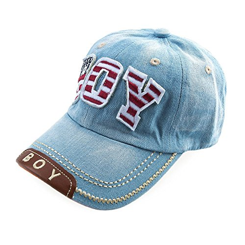 Childrens Denim Material Canvas Fashion Letter Decoration Can be Worn all Year Round for Unisex Peaked Cap / Sun Hat