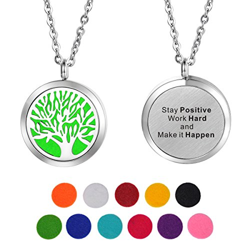 HooAMI Aromatherapy Essential Oil Diffuser Necklace - Stay Positive. Tree of Life Locket Pendant