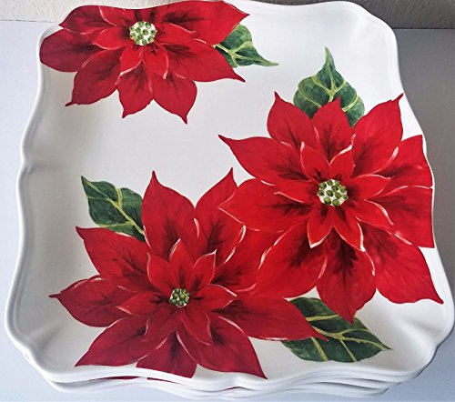 Maxcera Poinsettia Square Dinner Plate Set Of 8