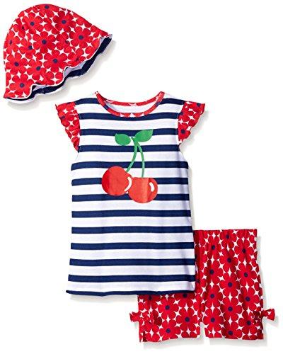 Gerber Little Girls' Toddler Three-Piece Shirt, Bloomer and Tulip Hat Set, Cherries, 4T