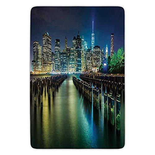 jsh2546eggh New YorkPier Pilings and Manhattan Skyline at Night Downtown Urban East RiverDark Blue Green Yellow Absorbent Indoor Mats Rugs Soft Comfort Flannel Home Decor