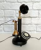 Antique Reproduction Rotary Dial Candlestick Telephone Decorative Brass & Iron