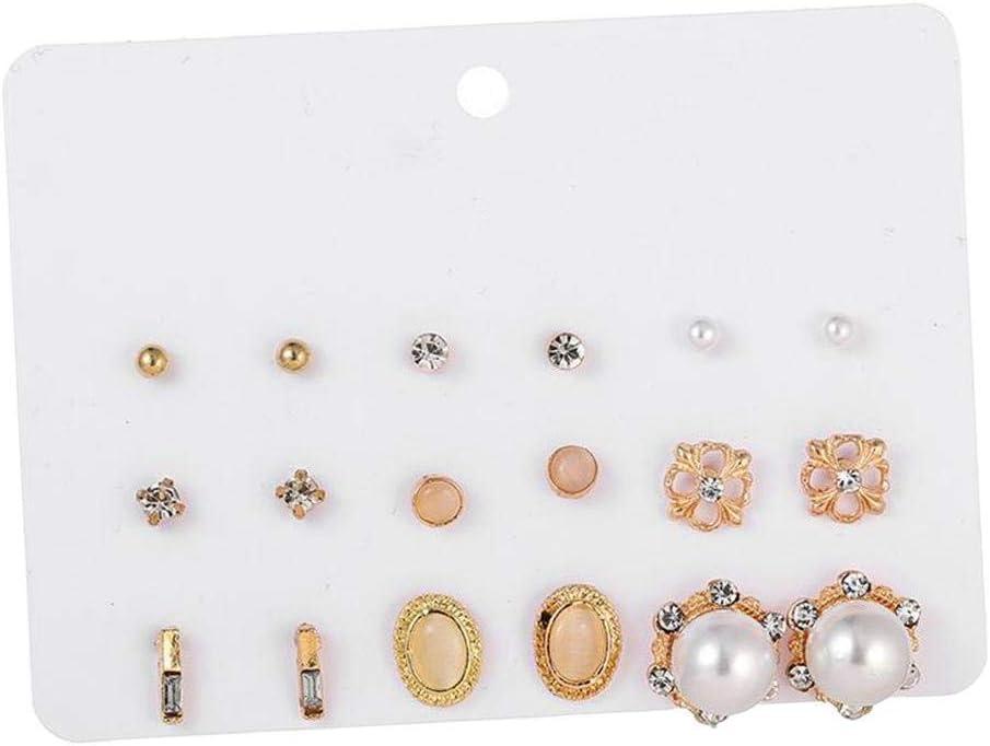 Hellery 9 Pares De Pendientes De Mujer De Moda Pendientes De Perlas De Imitación De Color Mixto