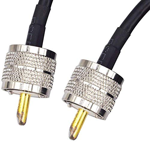RG 58 15M Low Loss UHF PL-259 Male to Male ham Radio Cable Coaxial PL259 Coax Connectors for CB Radio WiFi Antenna Extension Coax for VHF HF Radio 50 ohm rg58 Coax Cable