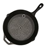 Cast Iron Cleaner,TILO Premium Stainless Steel Cast Iron Skillet Chainmail Scrubber- Extra Large 7x7 inch - Easily Cleans Cast Iron Skillets, Griddles, and Camping Pots and Pans (7x7 Round)