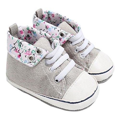 Igemy 1Paar Baby Schuhe Jungen Mädchen Neugeborene Krippe Soft Sole Schuhe Sneakers Grau