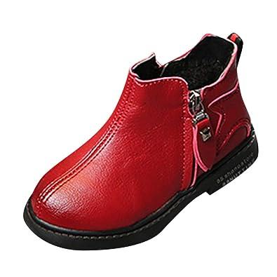 c467532ecc Kinder Kind Mädchen Jungen Winter Warm Solid Star Sport Lauf Martin Stiefel  Schuhe Arme Rutschfeste Leder