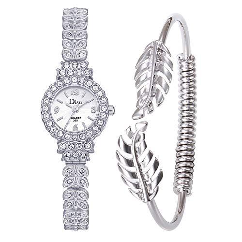 Staron  Women's Light Luxury Lady Temperament Watch with Crystal Studded Bezel, Alloy Bracelet Strap with Jewelry Bracelet Clasp Leaf Bracelet Set Chain Watch Birthday Gift (C)