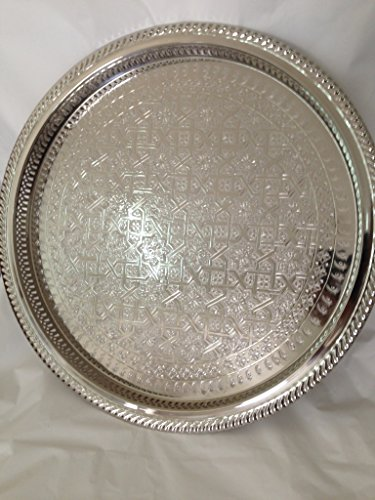 andmade Serving Tea Tray Silver Plated Brass Handcrafted Plate in Fez Morocco (Silver Tea Tray)