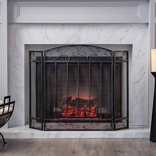 3パネルブラックメタルメッシュ暖炉スクリーン、自立型のモダンなリビングルームの装飾、屋内屋外用子供赤ちゃん消防火花ガード