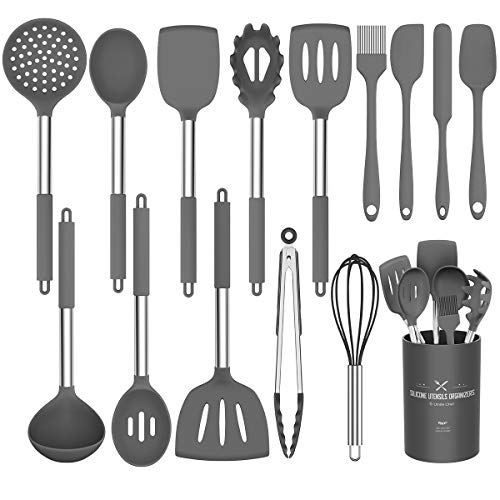 Umite Chef Kitchen Utensils Set, 15 pcs Silicone Cooking Kitchen Utensils Set, Heat Resistant Non-stick BPA-Free Silicone Stainless Steel Handle Turner Spatula Spoon Tongs Whisk Cookware (Grey)