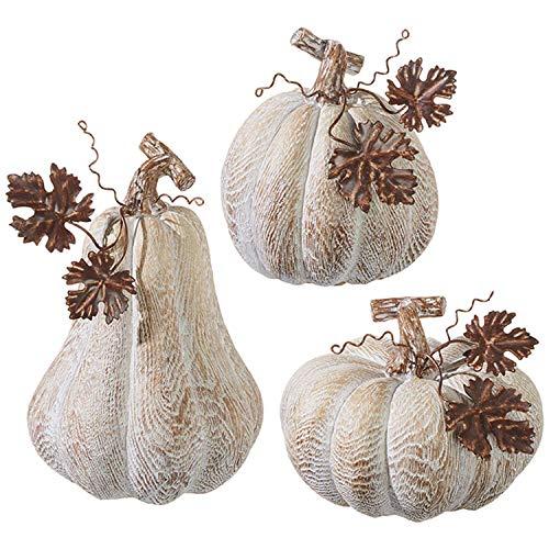 RAZ Imports White Rustic Woodgrain Look Resin Stone Pumpkin Figurines Assorted Set of 3