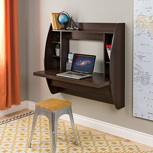 Prepac Wall Mounted Floating Desk with Storage in Espresso - Brown Computer Furniture