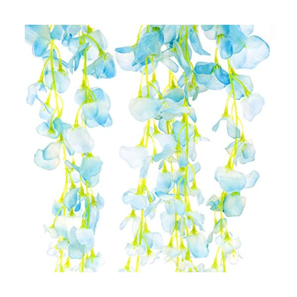 Best Choice Products 3.6ft Artificial Silk Wisteria Vine Hanging Flower Rattan Decor for Weddings and Events Home 12 Pack, Blue