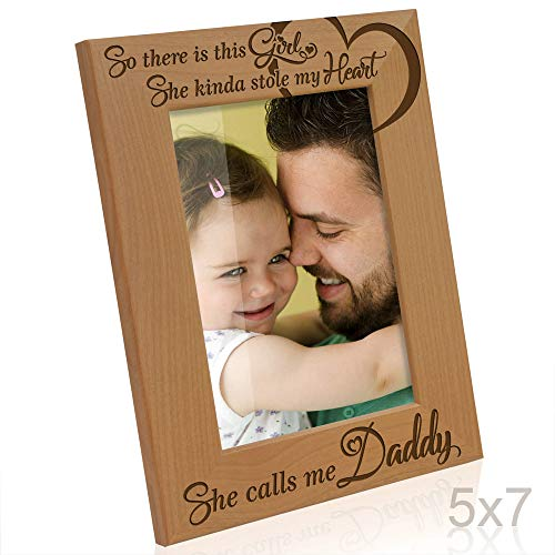 Girl Small Picture Frame - Kate Posh So There is This Girl, She Kinda Stole My Heart, She Calls me Daddy Natural Engraved Wood Photo Frame, Father Daughter Gifts, Father's Day, Best Dad Ever, New Baby, New Dad (5x7 Vertical)