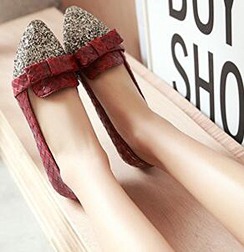 Idifu Femmes Doux Paillettes Arcs Bas Talon Compensé Pompes Bas Top Slip Sur Les Orteils Pointu Chaussures De Mariage Rouge