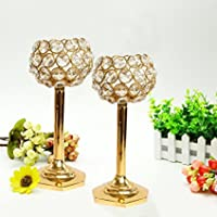 Tied Ribbons Crystal Tealight Holder Set Pack of 2 (Glass, Gold)