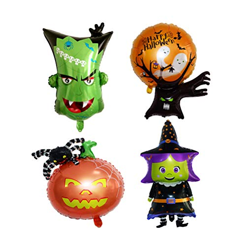 Amosfun 4pcs Balloons set halloween aluminum foil balloons pumpkin spider halloween party supplies decorations (Pumpkin Spider + Witch + Monster Head + Ghost Tree) -