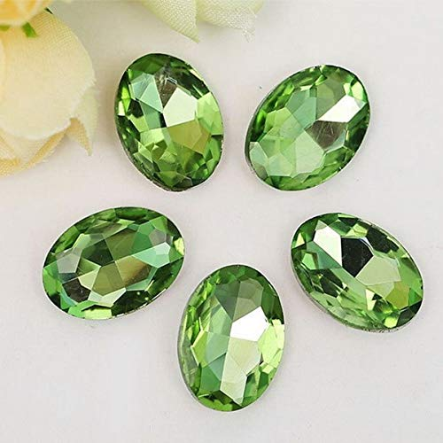 Pukido Pick Size Multi-Color Acrylic Craft Art DIY Pointback Oval Faceted Gems Rhinestone Strass High Shine Nail Art Stones - (Color: Peridot, Size: 20mmx30mm 5pcs)