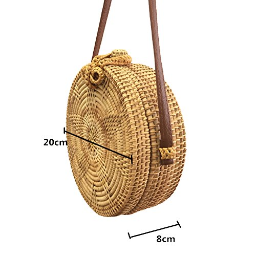 Summer Straw Shoulder Yjiujiu Beach Crossbody Handbags Round Weave And Purse Bag Women gwaqB