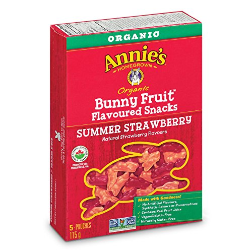 - Annie's Organic Bunny Fruit Snacks, Summer Strawberry, 5 Pouches, 0.8 oz Each (Pack of 4)