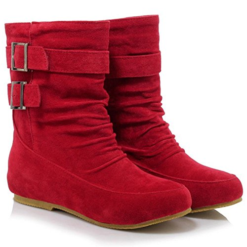 TAOFFEN Autumn Shoes Girls On Pull Half Boots Red Casual Winter HxgqFHZ7