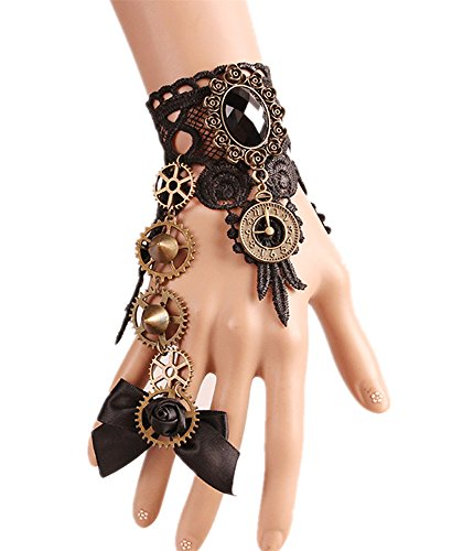 Meiysh Gothic Lolita Retro Steampunk Gear Lace Slave Bracelet Wristband Black Flower Ring (black (Womens Steampunk)