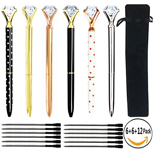 Black Refillable Pen - Youyuan 6 Pcs Diamond Ballpoint Pen Rose Gold Pens with Big Rhinestones Crystal Metal Ball-Point Bling Pen for Stylish Fancy Office Supplies, 12 Black Refillable Ink, 6 Different Colors