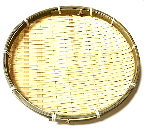 Daiso Japan Bamboo Small Round Basket Dish Plate for Soba Udon Noodles 10.2