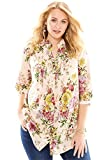 Roamans Women's Plus Size English Floral Tunic Pale Blush,20 W