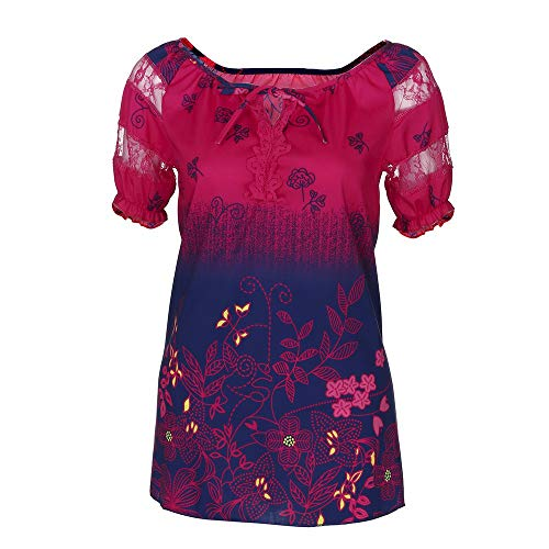 Women's Plus Size Tunic Tops,SMALLE◕‿◕ Women Gradient Lace Short Sleeve V Neck Pleated Tunic Shirt Loose Fit Blouse Hot Pink (Best Suede Cleaner For Jordans)