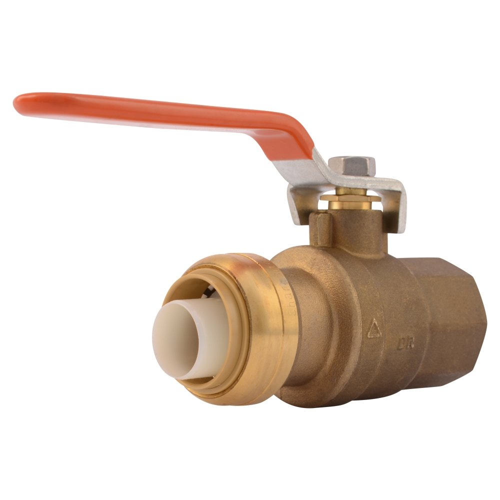 SharkBite 22187-0000LFA Ball Valve 1 Inch x 1 Inch, Water Valve Shut Off, Female, FNPT, Push-to-Connect, PEX, Copper, CPVC, PE-RT