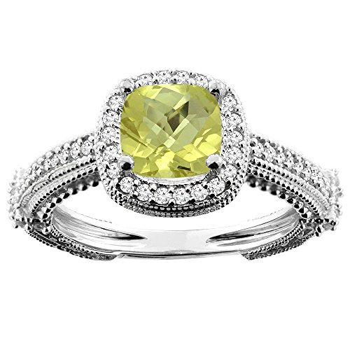 14K White Gold Natural Lemon Quartz Ring Cushion 7x7mm Diamond Accent, size 10