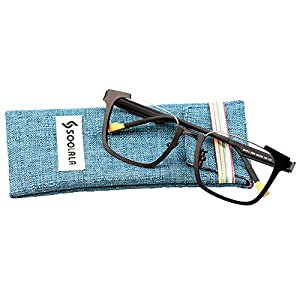 SOOLALA Unique Retro Stylish Aolly Clear Lens Eyeglass Frame Cool Reading Glasses, ClearLens, Black