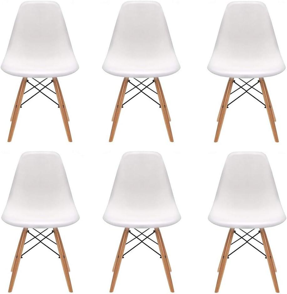 polipropileno Aleaci/ón de acero 82 x 46 x 53.5 Blanco dormitorio 82 x 46 x 53.5 N//A Un conjunto de 4//6 elegante dise/ño minimalista patas de madera silla de oficina adecuado para comedor