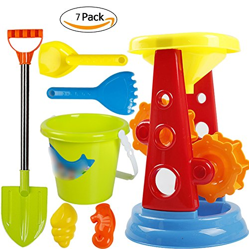 VGHJK Children's Beach Toy Set Large Baby Play Sand Digging Sandglass Shovel Tool Girl Toy,F by VGHJK