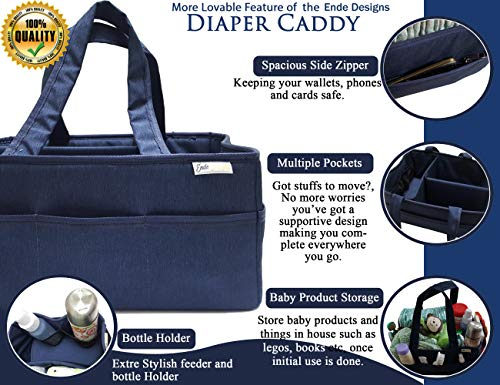 Denim Toy Bag (Denim Blue Diaper Caddy Organizer with Handles | Wipes and Toys Nursery Storage Basket | Diaper Tote Bag with Divided Compartments and Multiple Pockets | Car Trunk Storage Bin | Best Baby Shower Gift)