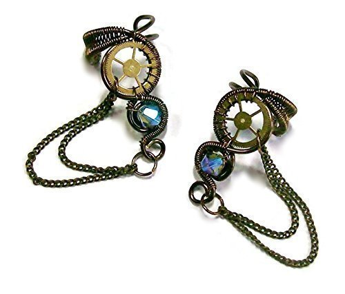 Pair of Bronze and Swarovski Crystal Small Woven-Wire Steampunk Ear Cuffs with Chains