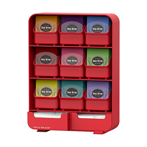 Mind Reader 9 Removable Drawers Tea Bag holder and Condiment Organizer, Red ()