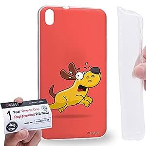 Case88 [HTC Desire 816] Gel TPU Carcasa/Funda & Tarjeta de garantía - Art Drawing Fear Doggie Art1746
