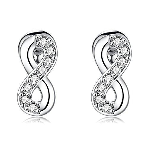 1 Pair 18G Cubic Zirconia Infinity Stainless Steel Stud Earrings Helix Cartilage Piercings Women Girls