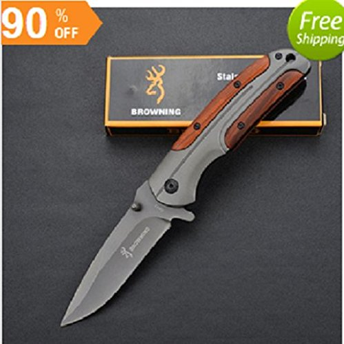 Browning Folding Knife Rosewood Handle Titanium Tactical Pocket Camping Tool fast open Hunting Survival Knife
