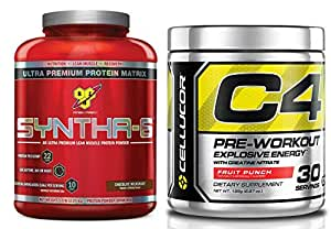 Bns Syntha-6 Chocolate Flavor Powder, 5 Lbs with Cellucor C4 Fruit Flavor, 195G