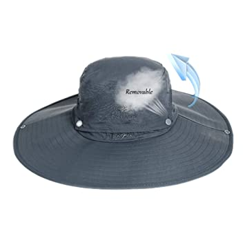 7876163ec Sun Hat for Men Women,Wide Brim Outdoor Unisex Boonie Breathable Hat  Removable Crown UV Sun Protection for Fishing Beach Hiking Camping Safari  Travel ...