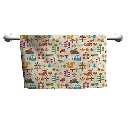 flybeek Floral Hand Towels Children,Cute Kids Autumn Pattern with Owl Fox Squirrel Birds Animal Leaves Artsy Print,Multicolor,t Shirt Towel for Curly Hair