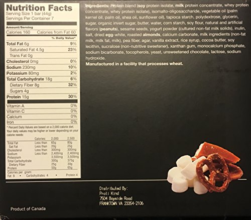 Proti Kind Salted Very Low Carb Toffee Pretzel Protein Bars, 7 Bars, 15g Protein Per Serving