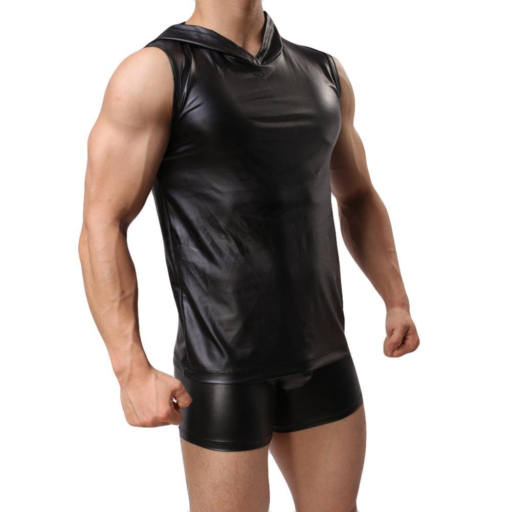 Showking Men Hooded Leather Taste Bar Vest Sleeveless Tank Top Casual Gym Muscle Vest