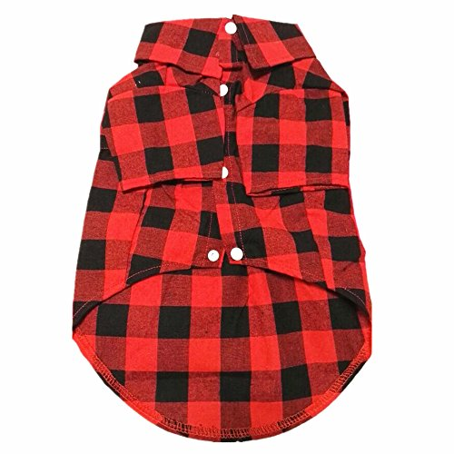 HOODDEAL Cute Grid Cotton Shirt Soft Gentle Casual, Dog Western Shirt, Dog Clothes + Dog Wedding Tie - Red And Black (Medium)